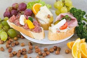 Cheese, salami and ham