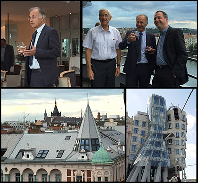 Prof. Dieter Fritsch greeting guests during the TIF Dinner atop the  Dancing House in Prague