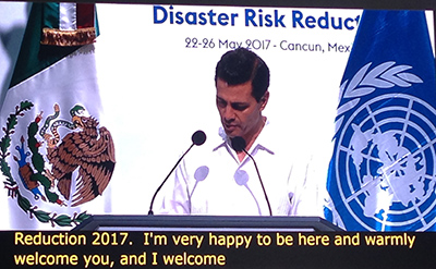 Mexican President welcoming UNISDR conference in Cancún